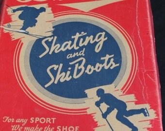 vintage Daoust red white  blue skating & ski boot box