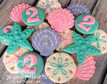 Beach Ocean Under the Sea Birthday Cookies - 1 Dozen