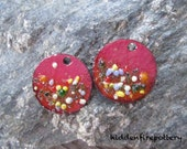 Enameled Earring Charms, Torch Fired Copper, Murrini, Frit, Boho Rustic Artisan Gypsy, 25mm Disks, Enameled Components, hiddenfirepottery