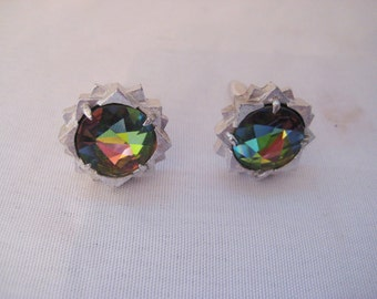 Large rhinestone jeweled cuff links, formal dress up cuff links, silver metal, rainbow colors, green, pink, yellow, blue, gift for him