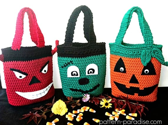 Halloween Trick or Treat Candy Bags, Crochet Pattern PDF 12-047 INSTANT DOWNLOAD