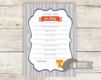 Wishes for Baby Printable - Woodland Baby Shower Theme - Instant Download