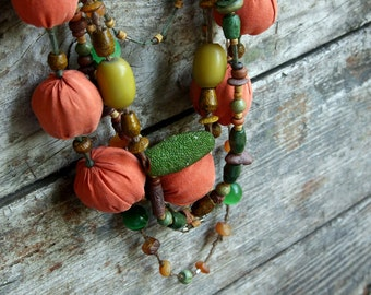 Necklace Tangerine Spain, orange brown green, soft silk fabric beads, wooden ceramics beads, Ethnic jewelry, bright necklace, textile art