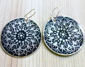 Mandala Earrings, Gypsy Earrings, Boho Earrings, Bohemian Jewelry
