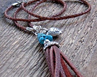 Leather Tassel Necklace, Layering Necklace, Turquoise Necklace, Bohemian Jewelry