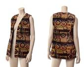 Vintage 60s Tapestry Vest 1960s Ethnic Boho Chenille Aladdin Carpet Southwestern Tribal Hippie Vest Jacket