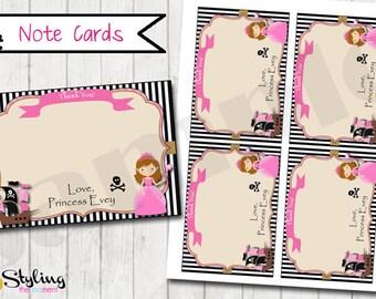 Pirate Princess Note Cards - Printable
