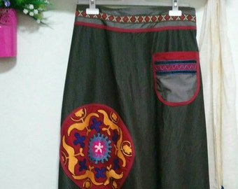 Handmade harem pant with suzani patches.