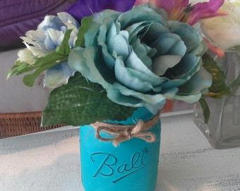 Flower Pens with Painted Mason Jar Vase