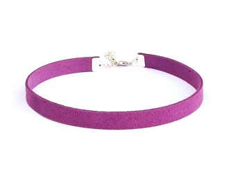 Lavender vegan suede leather choker