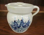Paul Storie Pottery Marshall Texas Blue Bell Floral Pitcher with Lid