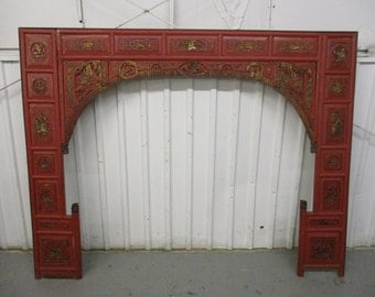Antique Chinese Asian Ornate Wedding Bed Panel Red Lacquer Gilt