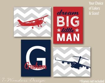 Boys Airplane Dream Big, Personalized Nursery Art Prints, Set of (4) 5x7, 8x10 or 11x14 Red Navy Grey Baby Toddler Nursery Art - Unframed