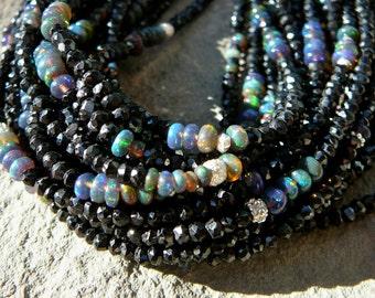 Ethiopian Opal Cuff, Multi Strand Opal Bracelet, Bracelet Ethiopian, Black Spinel and Ethiopian Opal Bracelets, Opal Bracelet