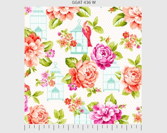 Garden Gate by P&B Textiles Large print birdcage in White 436W