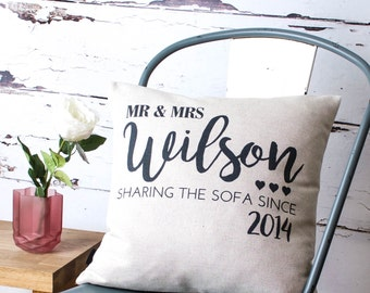 Personalised 'Sharing Sofa' Pillow Cover