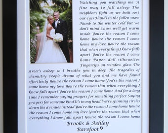 First Anniversary Gift For Wife Husband, ANY Wedding Song Vow First Dance Present True Companion Lyrics Wall Art Custom Photo Art Love 11x14