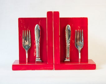 Kitchen Bookends - Vintage Silver Plated Silverware Shabby Chic Distressed Red Wood - Perfect for Cookbooks