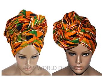 Orange Traditional Kente Print headwraps / African Head wraps/ African hair accessory/ African Fabric/ African Head scarf/ HT114