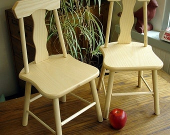 Pair of Children's Chairs, Solid Ash, Natural, Hand Crafted
