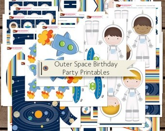 Outer Space and Astronaut Birthday Printable Party Decorations INSTANT DOWNLOAD