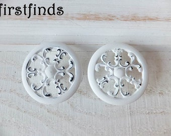 2 White Knobs Kitchen Cabinet Pulls Snowflake Filigree Painted Shabby Chic Furniture Dresser Drawer Cottage Cupboard ITEM DETAILS BELOW