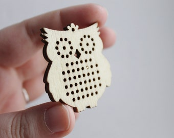 SET OF 5 - Cross stitch pendant blank OWL - owl blanks Wood Needlecraft Pendant, Necklace or Earrings - OWL1 - wooden cross stitch blank