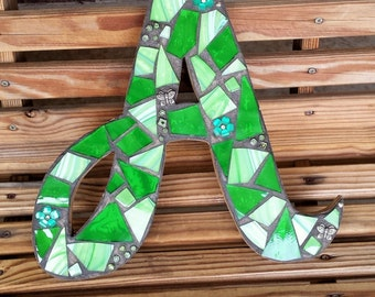 Green Mosiac Letter A, Stained Glass Letter, Mosaic Wall Hanging