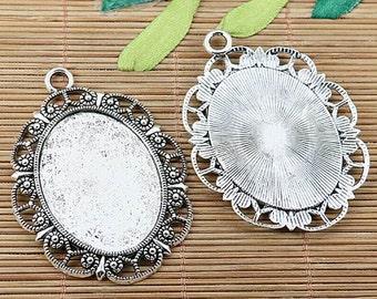 4pcs tibetan silver plated oval 40x30mm cabochon settings EF1994