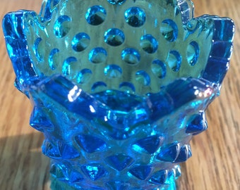 Darling teal ruffled edge votive candle holder with hobnail texture