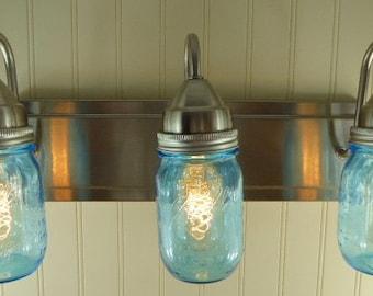 Mason Jar Light Fixture - Mason Jar Light Bar - Mason Jar Vanity Light - Choose Your Jar - Industrial Style Lighting - Edison Light Fixture