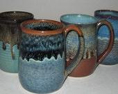 Pottery Mug Set of 4, XL 20 oz, Variety Colors, Handthrown, Microwave Dishwasher Safe