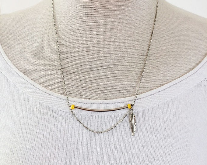 Simple necklace -charm necklace -delicate jewelry - asymmetric necklace