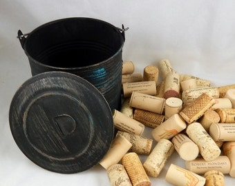 ON SALE Wine Corks for Crafting & DIY - Black Metal Bucket with Lid Included
