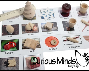 Montessori Object Match - Miniature Objects with Matching Cards - 2 Part Cards.  Montessori learning toy, language materials
