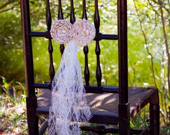 gold hanging wedding decor chair tie fabric flower lace upcycled vintage shabby chic decor ivory lace wedding church pew decor vintage party