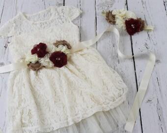 Ivory Flower Girl Dress Burgundy Rustic Flower Girl Dress Ivory Jr Bridesmaid Dress Burgundy Sash Burgundy Headband & Lace Flower Girl Dress