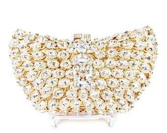 Gold Crystal Clutch, Crystal Bridal Clutch, Gold Crystal Minaudiere, Gold Crystal Evening Clutch