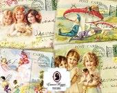 75% OFF SALE WELCOME Summer Postcards Digital Collage Sheet Set of 8 Digital Scrapbooking Printable Instant Download