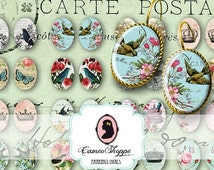 75% OFF SALE Digital collage Sheet OVAL Shabby Memories 13x18 mm Digital Collage Sheet for pairs of earrings