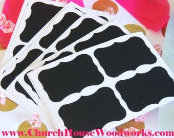 100 Small Chalkboard Stickers, Blackboard Stickers, Vinyl Black Fancy Frame, Chalkboard Labels, Mason Jar Labels, Wedding Decor, Room Decor