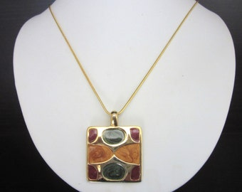 Enamel Guilloche Pendant Necklace Abstract Modernist Design 17 Inch GP Snake Chain
