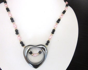 Hematite Heart Pendant Necklace with Pink Freshwater Pearls 17 inches