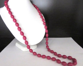 Long Necklace Dark Fuchsia Pink Lucite Beads 29 -  32 Inches