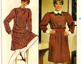 """A Straight Dress with Blouson Waist, Blouson Long Sleeve Top, and Flared Skirt Pattern for Women: Size 6, Bust 30-1/2"""" • Butterick 4599"""