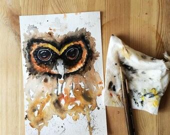 An owl Original Watercolor Painting