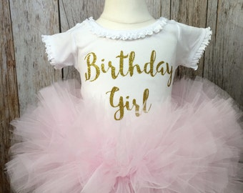 Birthday Girl Pink and Gold Birthday Tutu Set Infant Toddlers Girls Long Sleeves Available 2 Pc Set