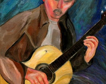 Man With the Spanish Guitar: Oil Painting