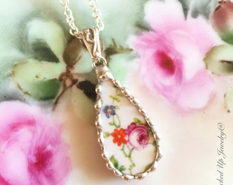 Broken China Jewelry. Broken China Necklace, Limoges USA China Necklace, Pink Rose Teardrop, Recycled China