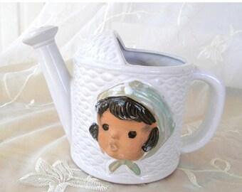 End of Summer Sale Vintage Porcelain Watering Can, White Basket Weave Pattern, Little Girl Faces in Scarves, Indoor Gardening